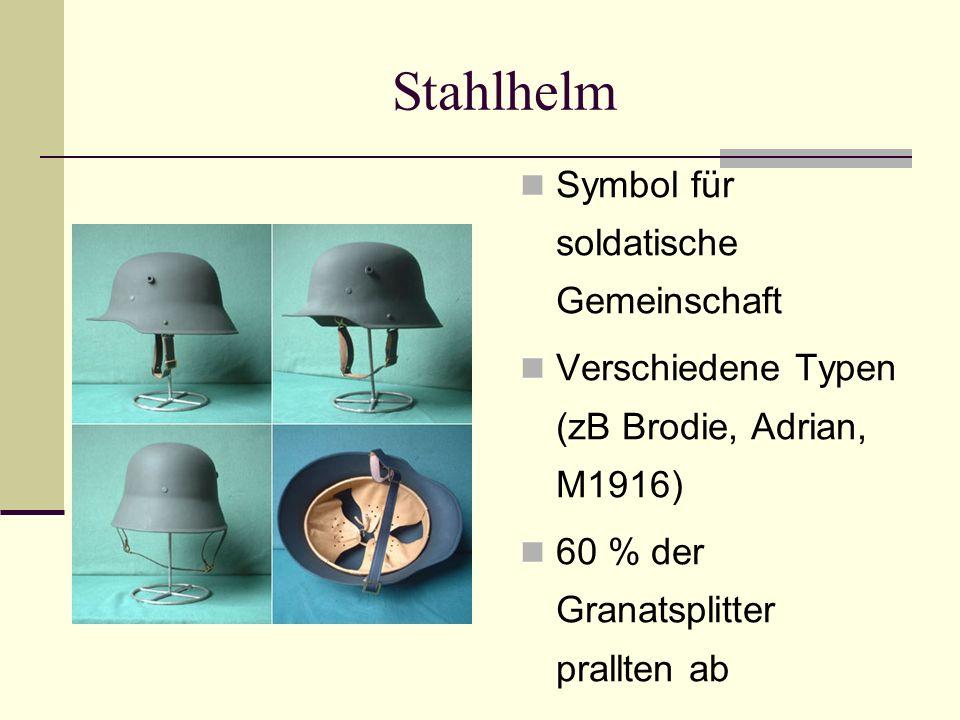 Stahlhelm Symbol für soldatische Gemeinschaft Verschiedene Typen (zB Brodie, Adrian, M1916) 60 % der Granatsplitter prallten ab