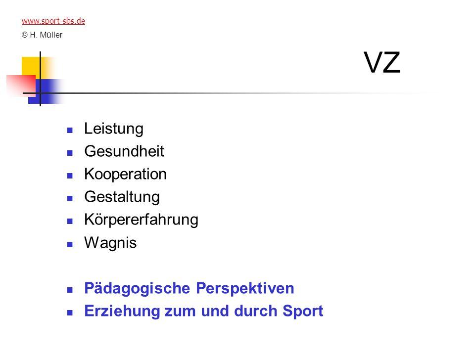 VZ Leistung Gesundheit Kooperation Gestaltung Körpererfahrung Wagnis Pädagogische Perspektiven Erziehung zum und durch Sport www.sport-sbs.de © H. Mül
