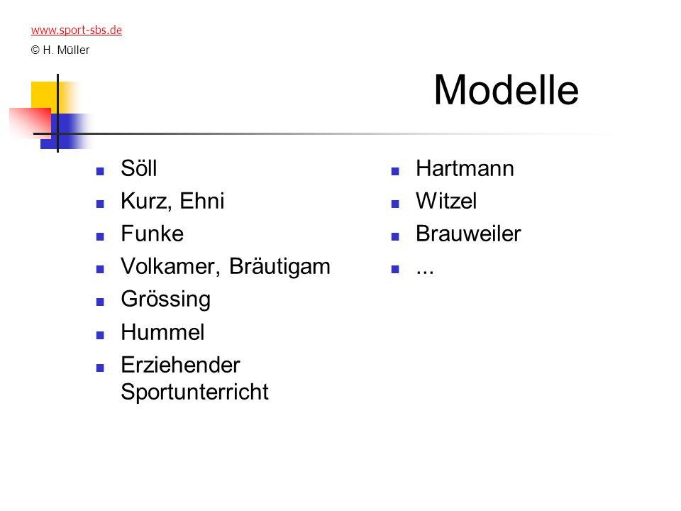Modelle Söll Kurz, Ehni Funke Volkamer, Bräutigam Grössing Hummel Erziehender Sportunterricht Hartmann Witzel Brauweiler... www.sport-sbs.de © H. Müll