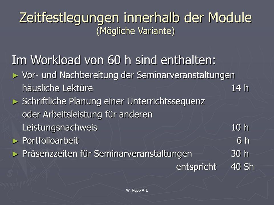 W. Rupp AfL Zeitfestlegungen innerhalb der Module (Mögliche Variante) Im Workload von 60 h sind enthalten: Vor- und Nachbereitung der Seminarveranstal