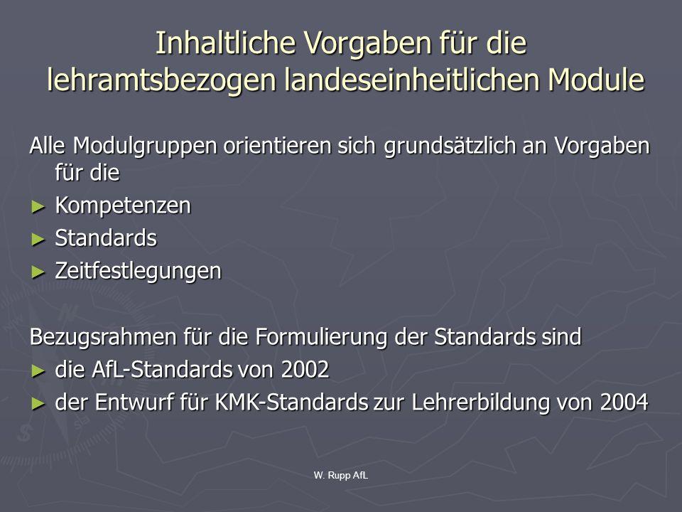 W. Rupp AfL Inhaltliche Vorgaben für die lehramtsbezogen landeseinheitlichen Module Alle Modulgruppen orientieren sich grundsätzlich an Vorgaben für d