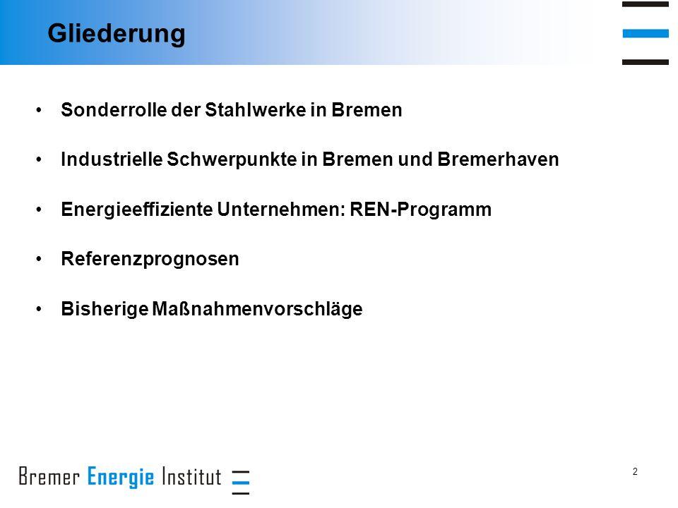 2 Gliederung Sonderrolle der Stahlwerke in Bremen Industrielle Schwerpunkte in Bremen und Bremerhaven Energieeffiziente Unternehmen: REN-Programm Referenzprognosen Bisherige Maßnahmenvorschläge