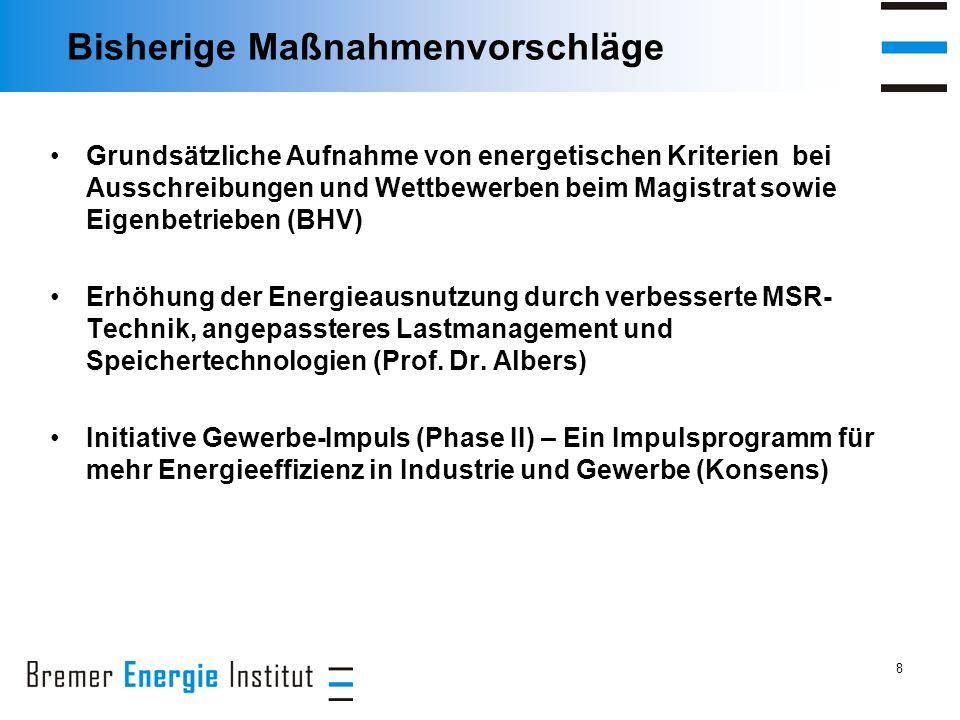 8 Bisherige Maßnahmenvorschläge Grundsätzliche Aufnahme von energetischen Kriterien bei Ausschreibungen und Wettbewerben beim Magistrat sowie Eigenbetrieben (BHV) Erhöhung der Energieausnutzung durch verbesserte MSR- Technik, angepassteres Lastmanagement und Speichertechnologien (Prof.