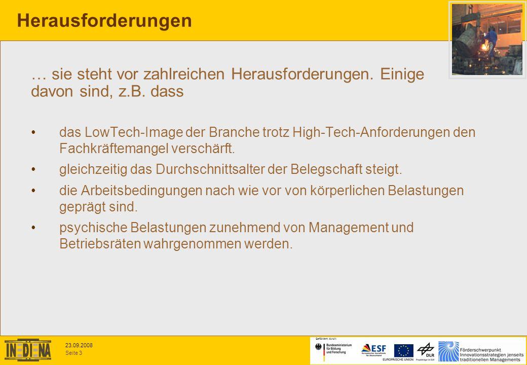 Seite 3 23.09.2008 Gefördert durch: das LowTech-Image der Branche trotz High-Tech-Anforderungen den Fachkräftemangel verschärft. gleichzeitig das Durc