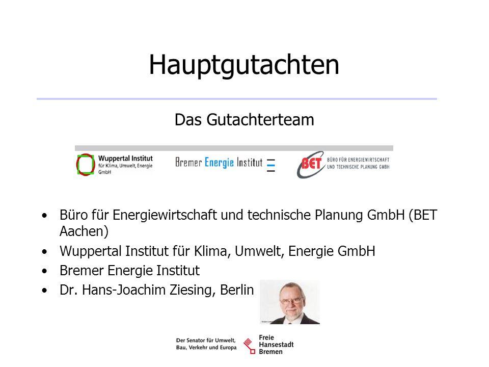 Hauptgutachten Das Gutachterteam Büro für Energiewirtschaft und technische Planung GmbH (BET Aachen) Wuppertal Institut für Klima, Umwelt, Energie Gmb