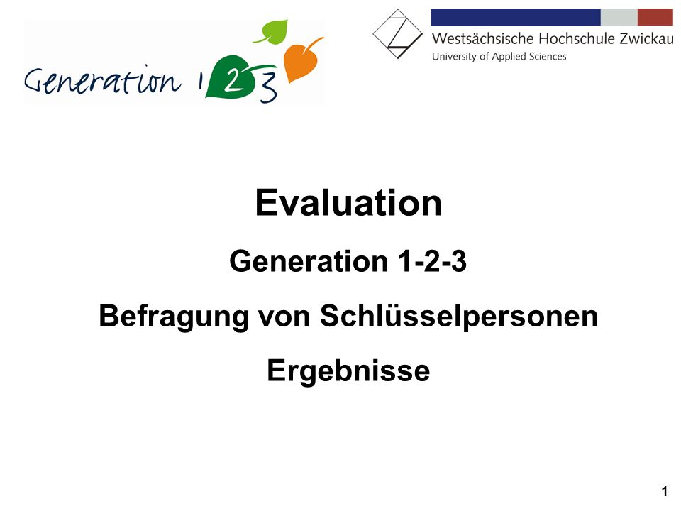 1 Evaluation Generation 1-2-3 Befragung von Schlüsselpersonen Ergebnisse