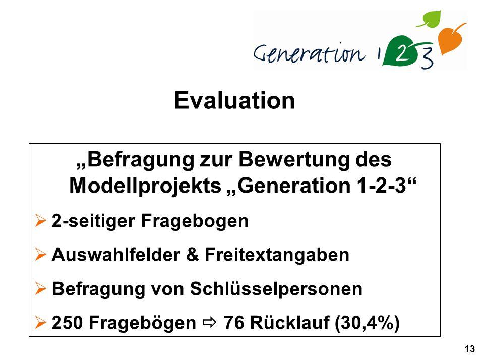 13 Befragung zur Bewertung des Modellprojekts Generation 1-2-3 2-seitiger Fragebogen Auswahlfelder & Freitextangaben Befragung von Schlüsselpersonen 250 Fragebögen 76 Rücklauf (30,4%) Evaluation