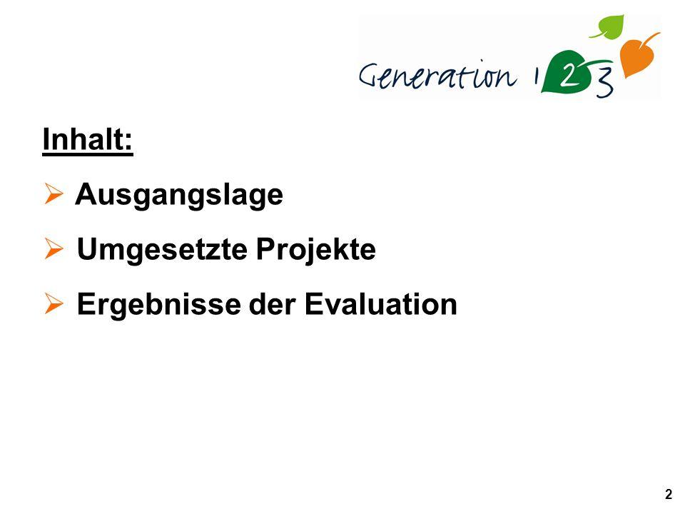 2 Inhalt: Ausgangslage Umgesetzte Projekte Ergebnisse der Evaluation