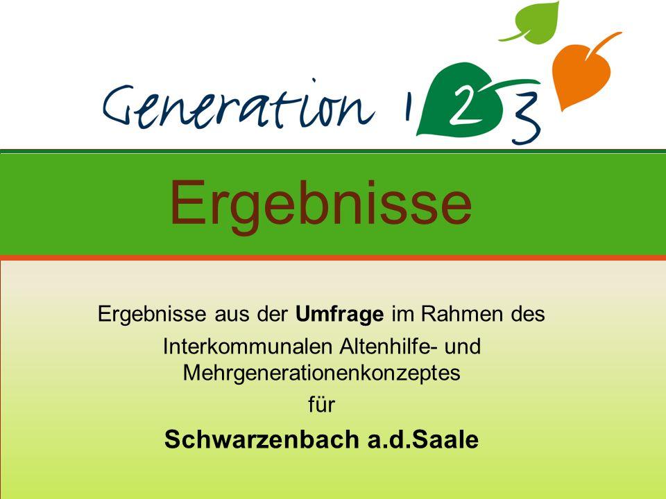 Ergebnisse aus der Umfrage im Rahmen des Interkommunalen Altenhilfe- und Mehrgenerationenkonzeptes für Schwarzenbach a.d.Saale Ergebnisse