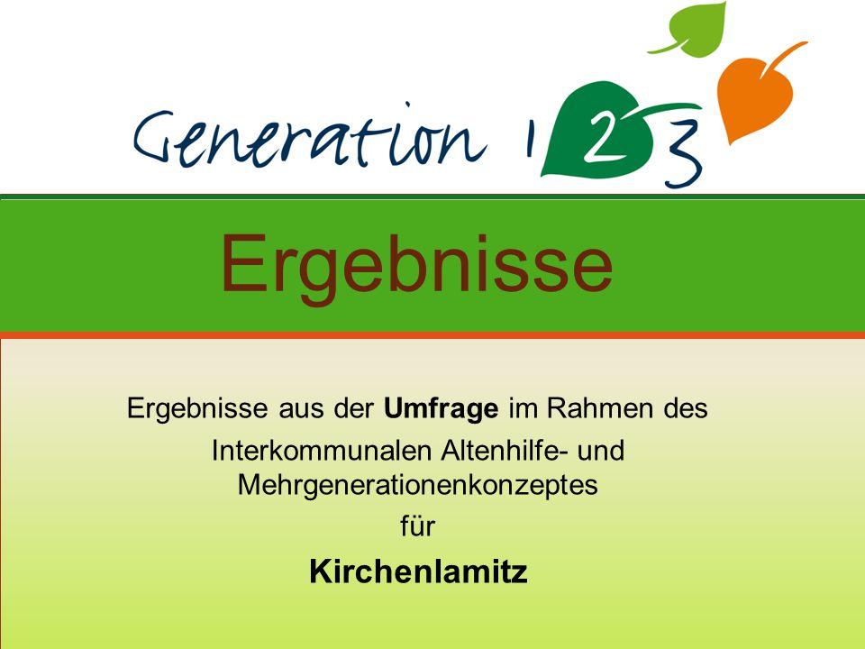 Ergebnisse aus der Umfrage im Rahmen des Interkommunalen Altenhilfe- und Mehrgenerationenkonzeptes für Kirchenlamitz Ergebnisse