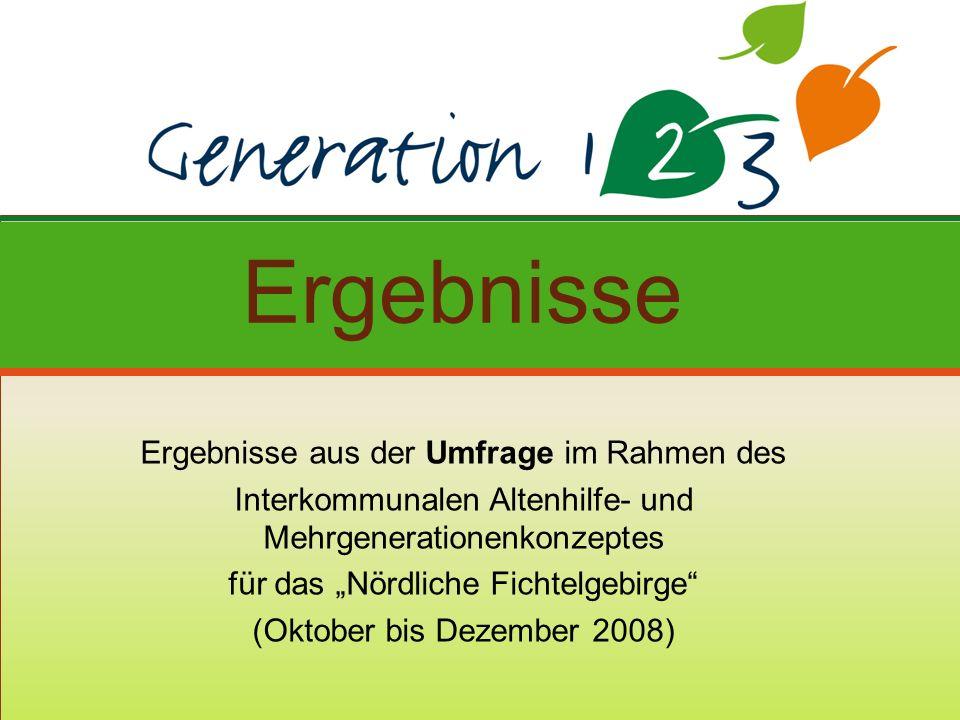 Ergebnisse aus der Umfrage im Rahmen des Interkommunalen Altenhilfe- und Mehrgenerationenkonzeptes für das Nördliche Fichtelgebirge (Oktober bis Dezember 2008) Ergebnisse