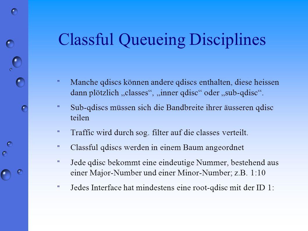 Classful Queueing Disciplines Manche qdiscs können andere qdiscs enthalten, diese heissen dann plötzlich classes, inner qdisc oder sub-qdisc.