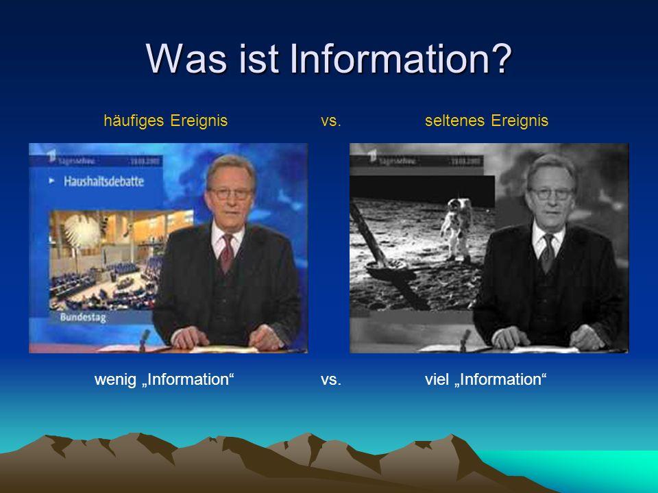Was ist Information? häufiges Ereignisseltenes Ereignis wenig Informationviel Information vs.