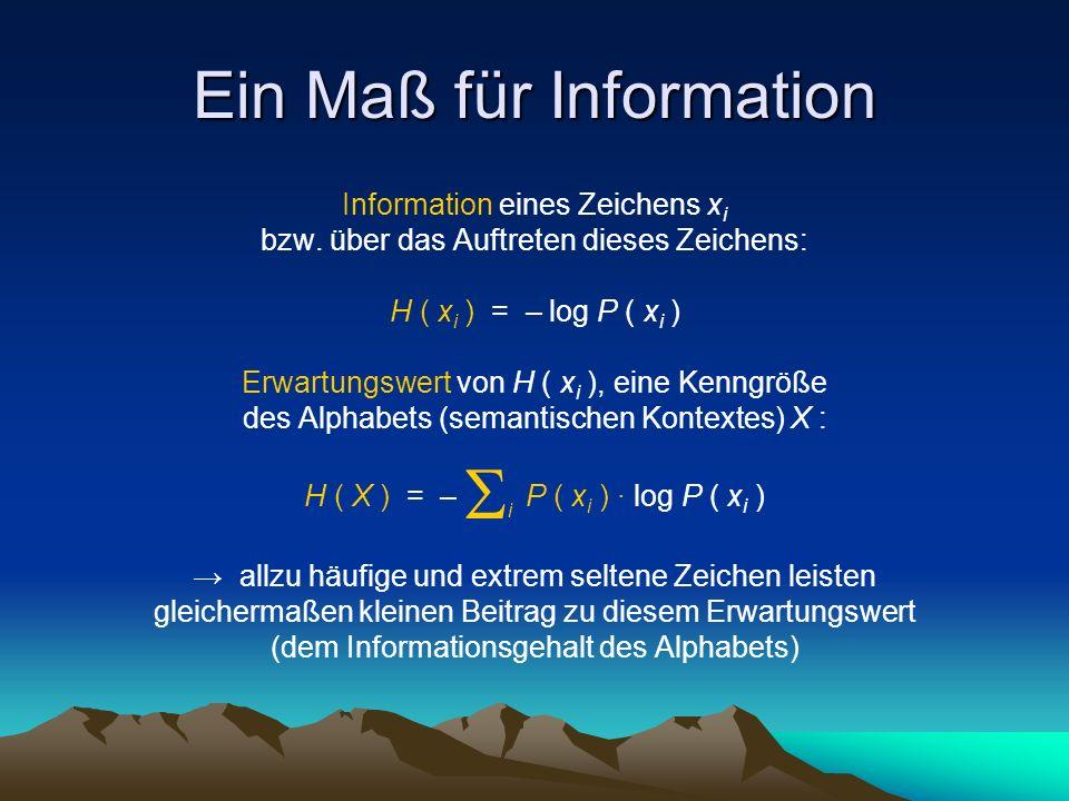 Ein Maß für Information Information eines Zeichens x i bzw.