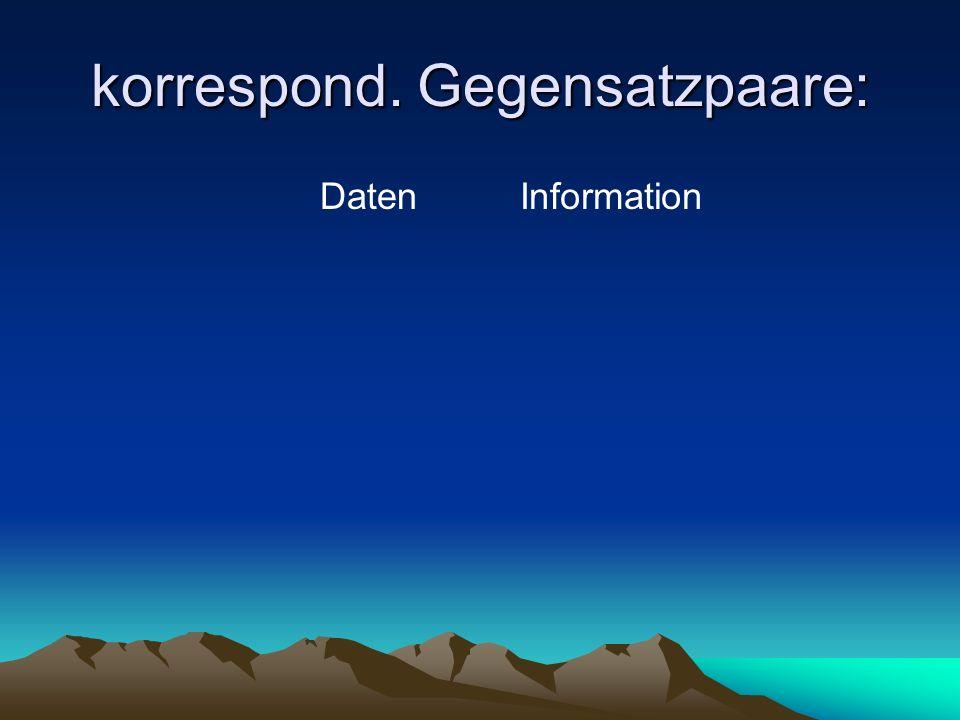 korrespond. Gegensatzpaare: DatenInformation