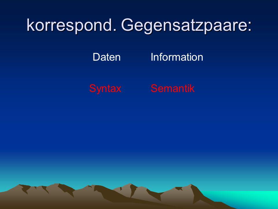 korrespond. Gegensatzpaare: Daten Syntax Information Semantik