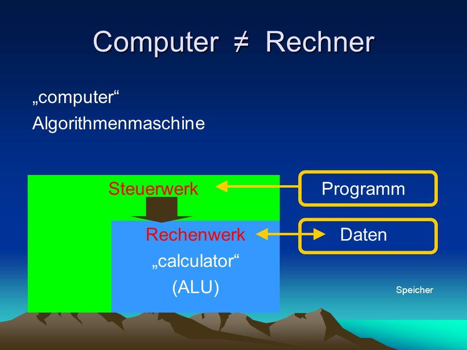 Computer Rechner computer Algorithmenmaschine SteuerwerkProgramm Rechenwerk calculator (ALU) Daten Speicher
