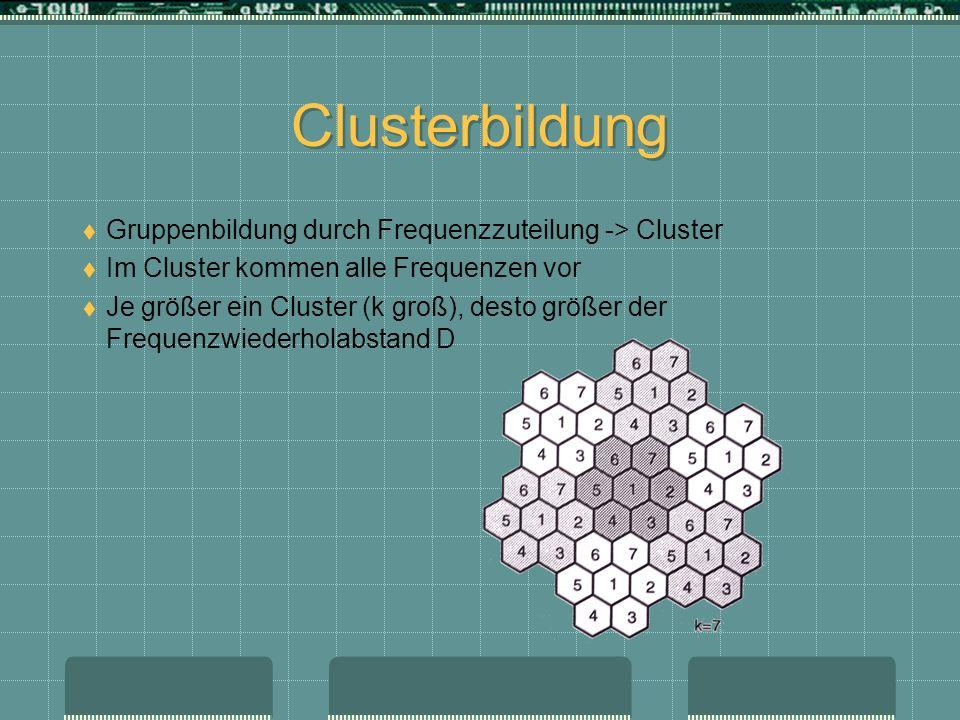 Clusterbildung Gruppenbildung durch Frequenzzuteilung -> Cluster Im Cluster kommen alle Frequenzen vor Je größer ein Cluster (k groß), desto größer de