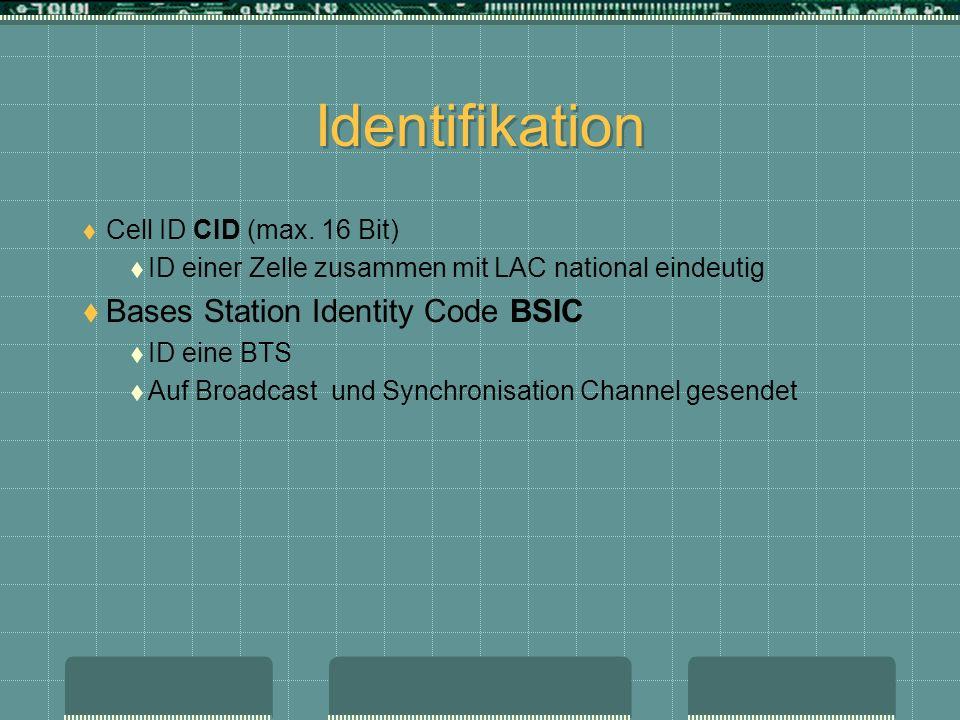 Identifikation Cell ID CID (max. 16 Bit) ID einer Zelle zusammen mit LAC national eindeutig Bases Station Identity Code BSIC ID eine BTS Auf Broadcast