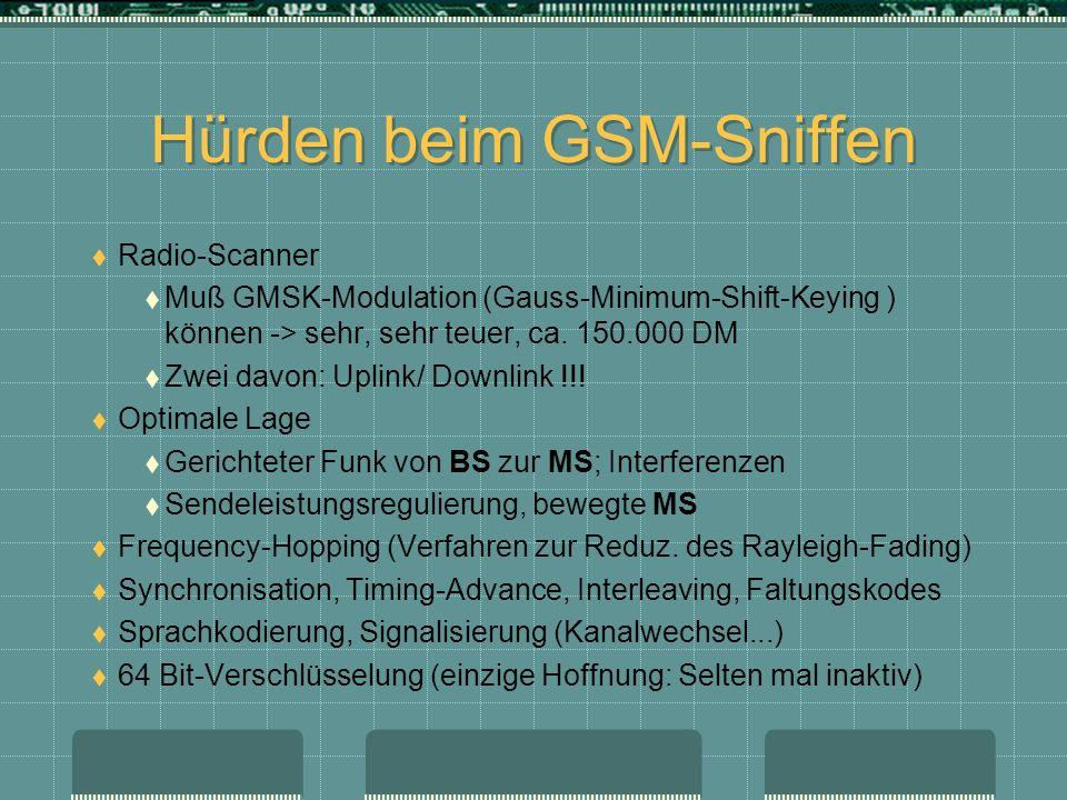 Hürden beim GSM-Sniffen Radio-Scanner Muß GMSK-Modulation (Gauss-Minimum-Shift-Keying ) können -> sehr, sehr teuer, ca. 150.000 DM Zwei davon: Uplink/