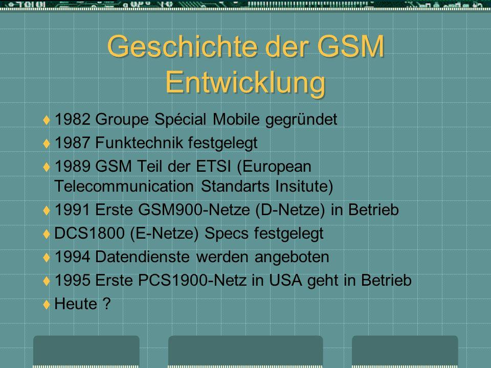 Geschichte der GSM Entwicklung 1982 Groupe Spécial Mobile gegründet 1987 Funktechnik festgelegt 1989 GSM Teil der ETSI (European Telecommunication Sta