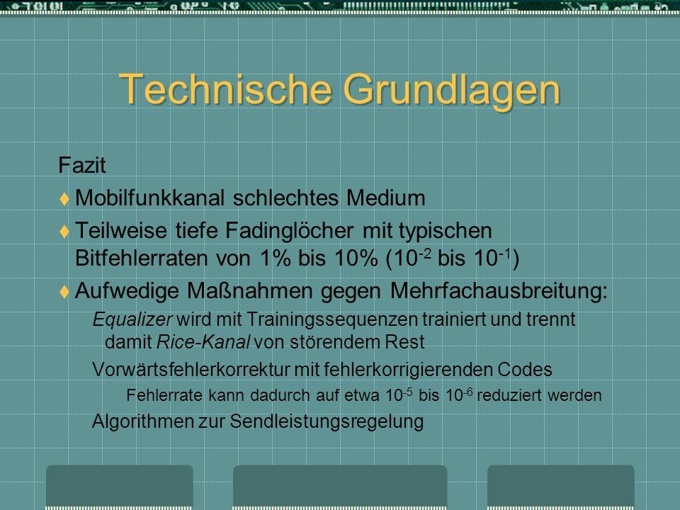 Technische Grundlagen Fazit Mobilfunkkanal schlechtes Medium Teilweise tiefe Fadinglöcher mit typischen Bitfehlerraten von 1% bis 10% (10 -2 bis 10 -1