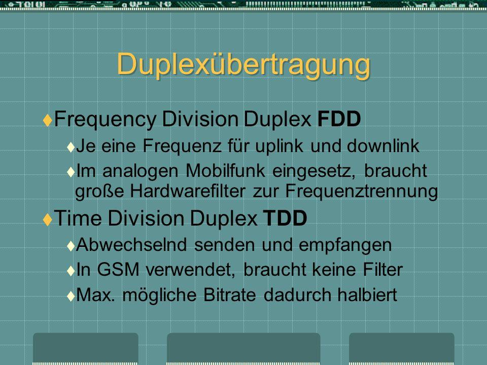 Duplexübertragung Frequency Division Duplex FDD Je eine Frequenz für uplink und downlink Im analogen Mobilfunk eingesetz, braucht große Hardwarefilter