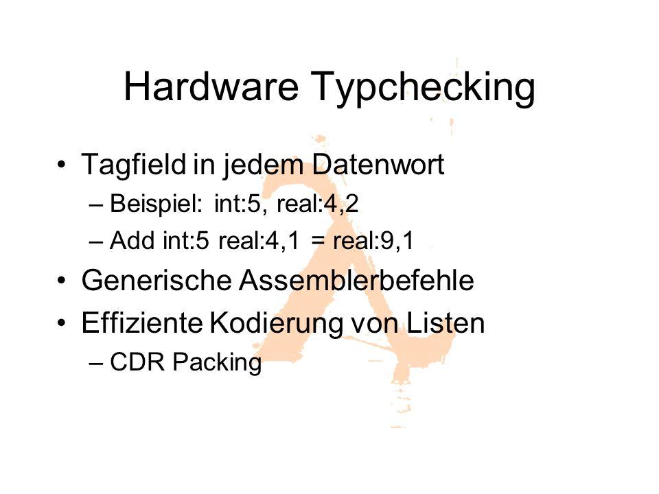 Hardware Typchecking Tagfield in jedem Datenwort –Beispiel: int:5, real:4,2 –Add int:5 real:4,1 = real:9,1 Generische Assemblerbefehle Effiziente Kodi