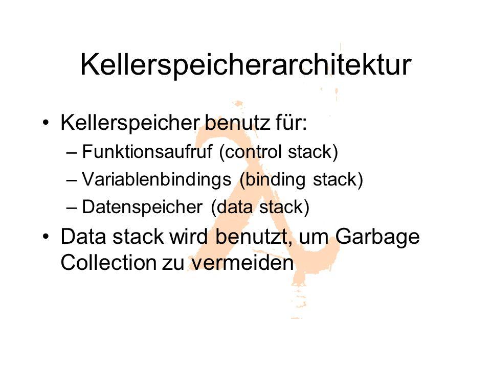 Kellerspeicherarchitektur Kellerspeicher benutz für: –Funktionsaufruf (control stack) –Variablenbindings (binding stack) –Datenspeicher (data stack) Data stack wird benutzt, um Garbage Collection zu vermeiden