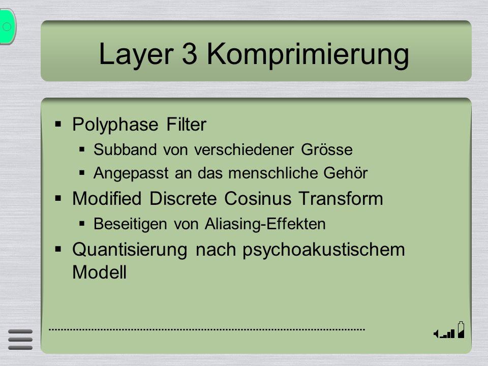 Layer 3 Komprimierung Polyphase Filter Subband von verschiedener Grösse Angepasst an das menschliche Gehör Modified Discrete Cosinus Transform Beseiti