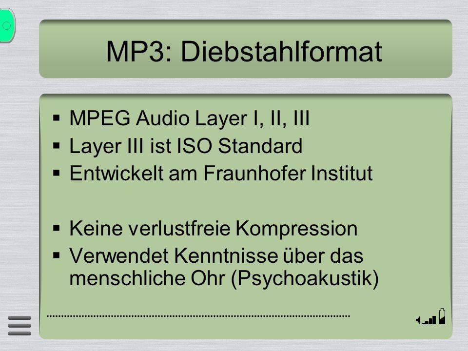 MP3: Diebstahlformat MPEG Audio Layer I, II, III Layer III ist ISO Standard Entwickelt am Fraunhofer Institut Keine verlustfreie Kompression Verwendet