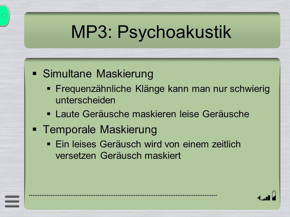 MP3: Psychoakustik Simultane Maskierung Frequenzähnliche Klänge kann man nur schwierig unterscheiden Laute Geräusche maskieren leise Geräusche Tempora