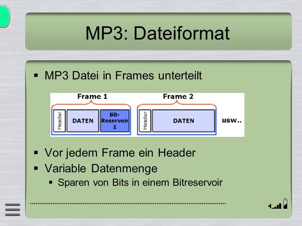 MP3: Dateiformat MP3 Datei in Frames unterteilt Vor jedem Frame ein Header Variable Datenmenge Sparen von Bits in einem Bitreservoir