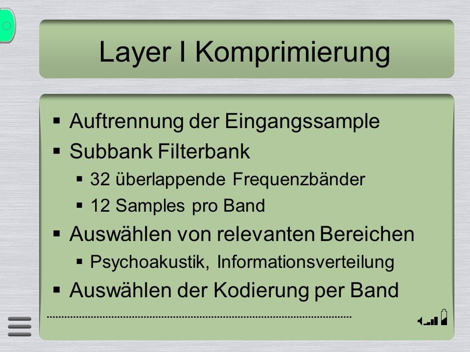 Layer I Komprimierung Auftrennung der Eingangssample Subbank Filterbank 32 überlappende Frequenzbänder 12 Samples pro Band Auswählen von relevanten Be