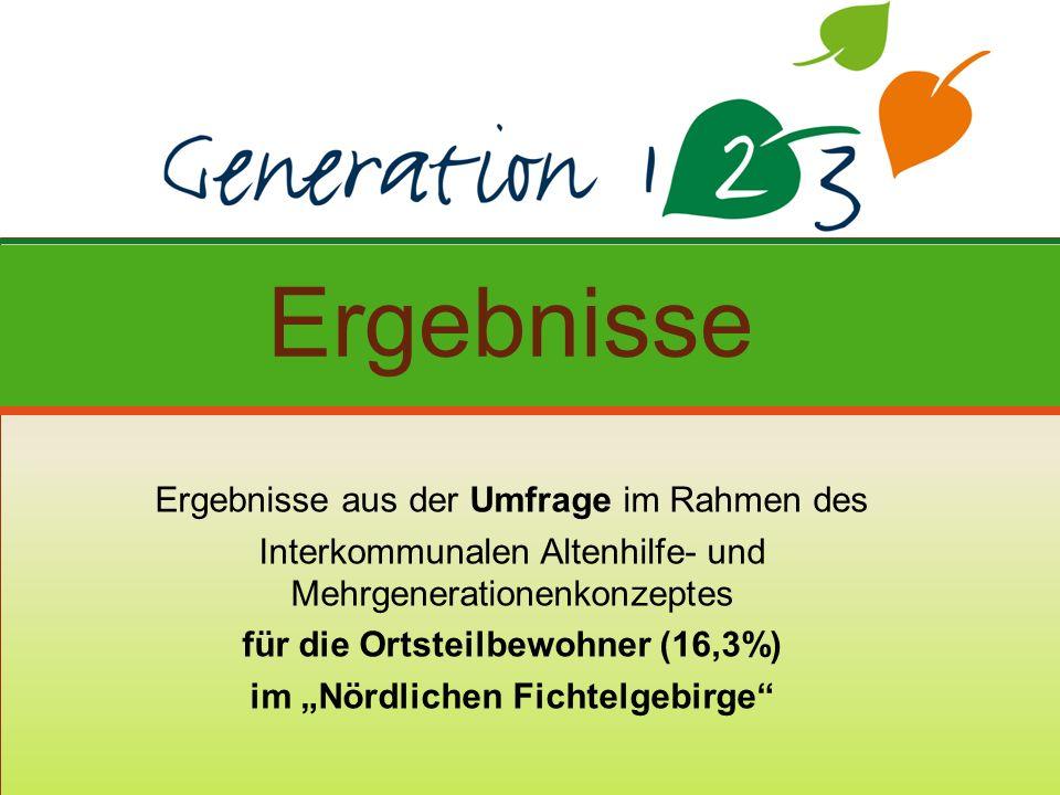 Ergebnisse aus der Umfrage im Rahmen des Interkommunalen Altenhilfe- und Mehrgenerationenkonzeptes für die Ortsteilbewohner (16,3%) im Nördlichen Fichtelgebirge Ergebnisse