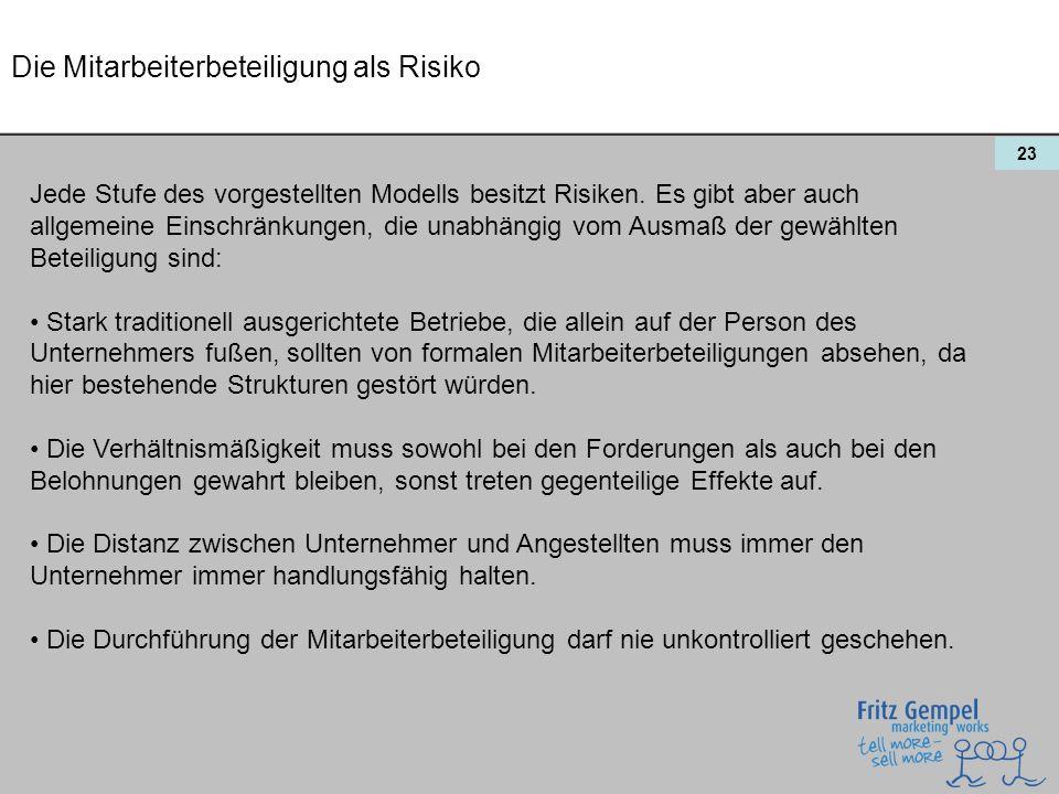 23 Die Mitarbeiterbeteiligung als Risiko Jede Stufe des vorgestellten Modells besitzt Risiken. Es gibt aber auch allgemeine Einschränkungen, die unabh