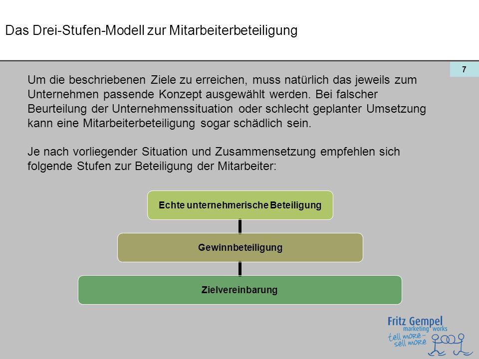8 Das Drei-Stufen-Modell zur Mitarbeiterbeteiligung: Die Zielvereinbarung Eine Zielvereinbarung ist der einfachste und sicherste Weg, die nützlichen Effekte einer Mitarbeiterbeteiligung zu erreichen, ohne die Distanz zwischen Unternehmer und Angestellten zu sehr zu verringern.
