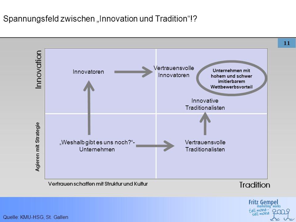11 Spannungsfeld zwischen Innovation und Tradition!? Agieren mit Strategie Weshalb gibt es uns noch?- Unternehmen Vertrauensvolle Traditionalisten Inn