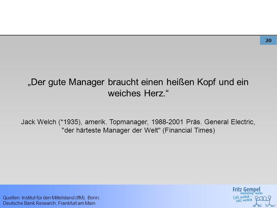 20 Quellen: Institut für den Mittelstand (IfM), Bonn; Deutsche Bank Research, Frankfurt am Main Der gute Manager braucht einen heißen Kopf und ein wei