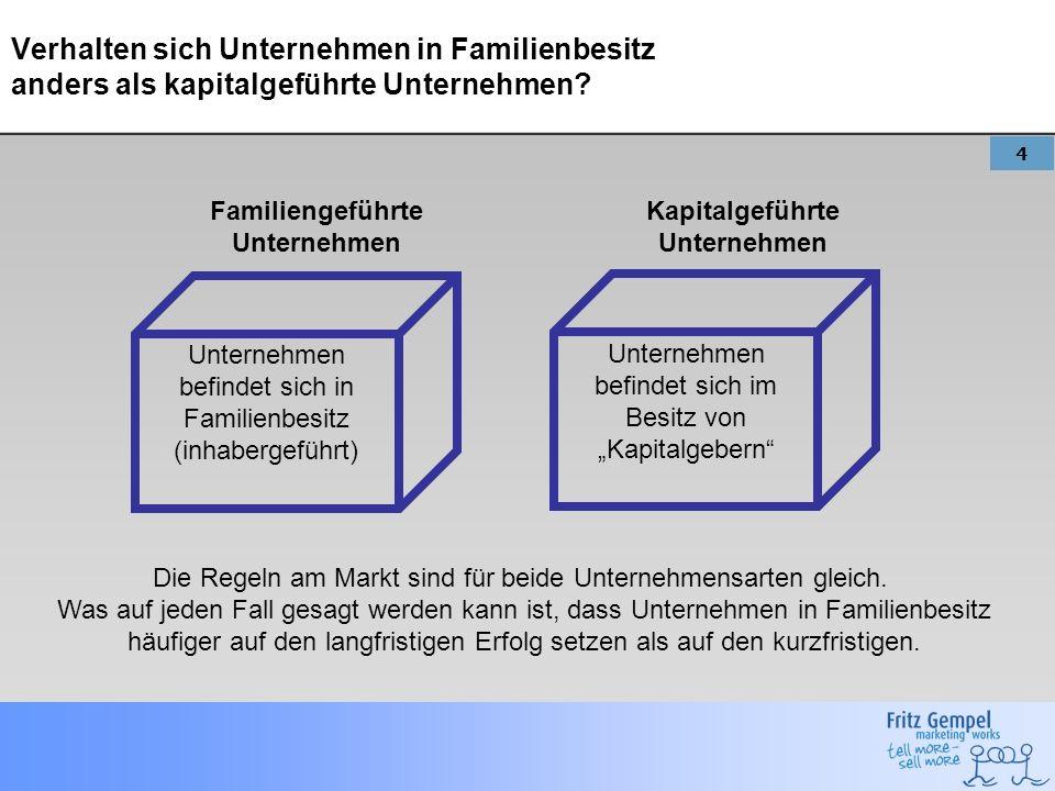 4 Verhalten sich Unternehmen in Familienbesitz anders als kapitalgeführte Unternehmen? Unternehmen befindet sich in Familienbesitz (inhabergeführt) Un
