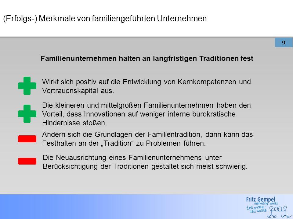 9 (Erfolgs-) Merkmale von familiengeführten Unternehmen Familienunternehmen halten an langfristigen Traditionen fest Wirkt sich positiv auf die Entwic