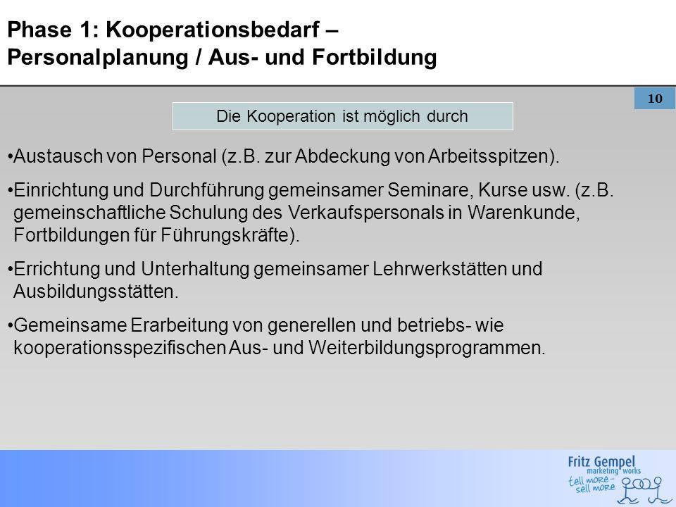 10 Phase 1: Kooperationsbedarf – Personalplanung / Aus- und Fortbildung Austausch von Personal (z.B. zur Abdeckung von Arbeitsspitzen). Einrichtung un