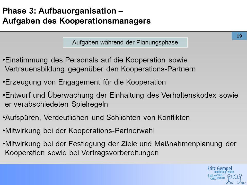 19 Phase 3: Aufbauorganisation – Aufgaben des Kooperationsmanagers Einstimmung des Personals auf die Kooperation sowie Vertrauensbildung gegenüber den