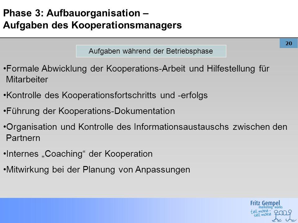 20 Phase 3: Aufbauorganisation – Aufgaben des Kooperationsmanagers Formale Abwicklung der Kooperations-Arbeit und Hilfestellung für Mitarbeiter Kontro