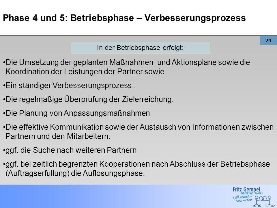 24 Phase 4 und 5: Betriebsphase – Verbesserungsprozess Die Umsetzung der geplanten Maßnahmen- und Aktionspläne sowie die Koordination der Leistungen d