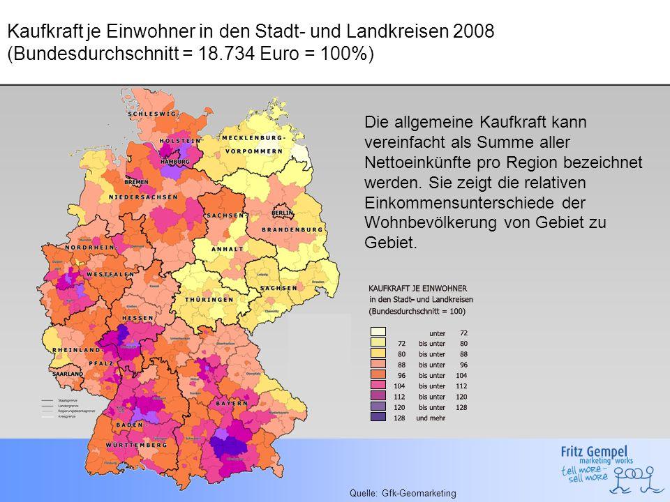 Kaufkraft je Einwohner in den Stadt- und Landkreisen 2008 (Bundesdurchschnitt = 18.734 Euro = 100%) Quelle: Gfk-Geomarketing Die allgemeine Kaufkraft