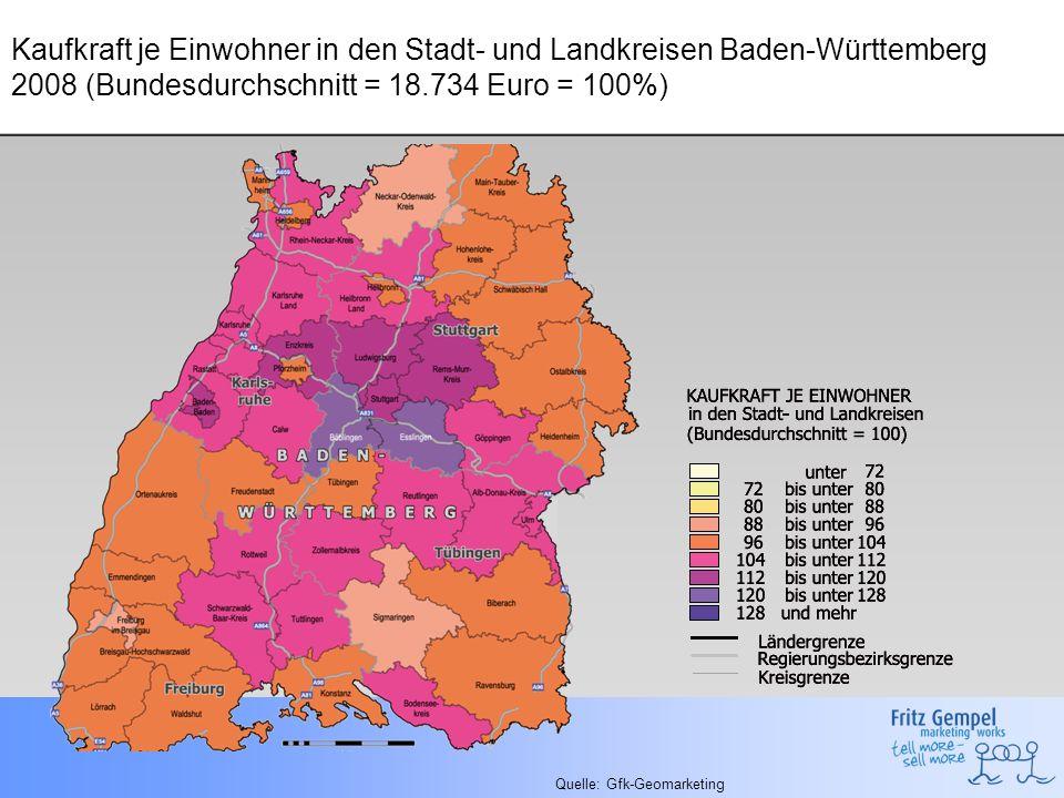 Kaufkraft je Einwohner in den Stadt- und Landkreisen Baden-Württemberg 2008 (Bundesdurchschnitt = 18.734 Euro = 100%) Quelle: Gfk-Geomarketing