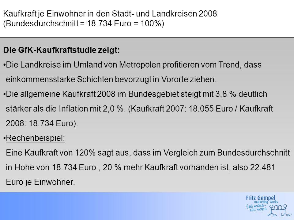 Kaufkraft je Einwohner in den Stadt- und Landkreisen 2008 (Bundesdurchschnitt = 18.734 Euro = 100%) Die GfK-Kaufkraftstudie zeigt: Die Landkreise im U