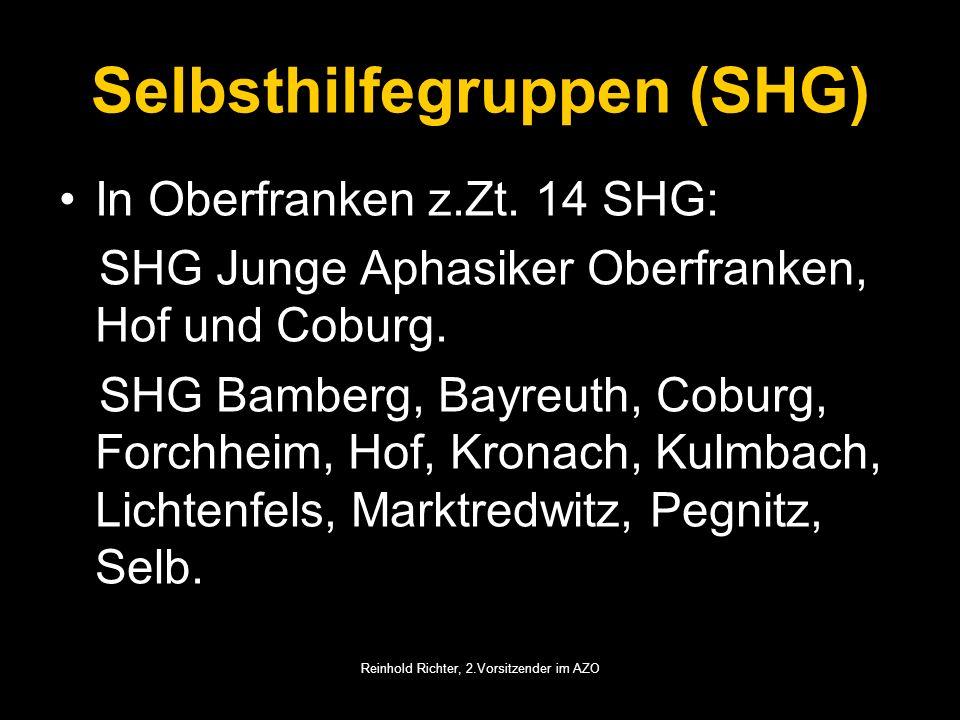 Reinhold Richter, 2.Vorsitzender im AZO Selbsthilfegruppen (SHG) In Oberfranken z.Zt. 14 SHG: SHG Junge Aphasiker Oberfranken, Hof und Coburg. SHG Bam