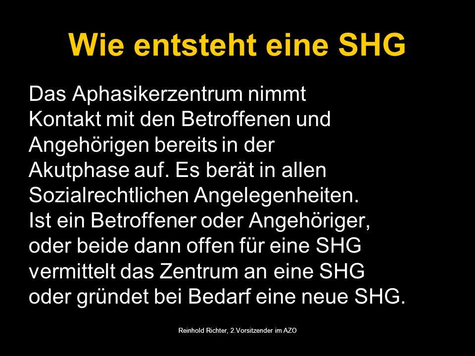 Reinhold Richter, 2.Vorsitzender im AZO Wie entsteht eine SHG Das Aphasikerzentrum nimmt Kontakt mit den Betroffenen und Angehörigen bereits in der Ak